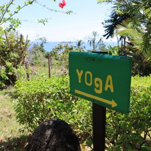 wooden green yoga sign